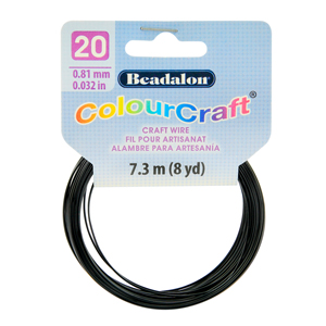 ColourCraft Wire, 20 Gauge (0.032 in, 0.81 mm), Black, 7.3 m (8 yd) Coil