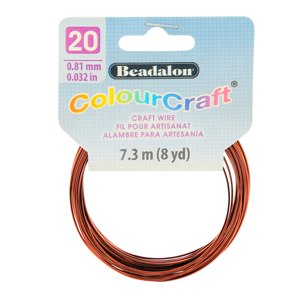 ColourCraft Wire, 20 Gauge (0.032 in, 0.81 mm), Brown, 7.3 m (8 yd) Coil