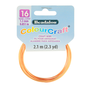 ColourCraft Wire, 16 Gauge (0.051 in, 1.29 mm), Copper, 2.1 m (2.3 yd) Coil