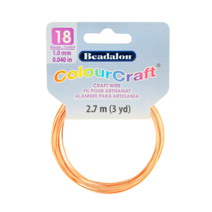 ColourCraft Wire, 18 Gauge (0.040 in, 1.02 mm), Copper, 2.7 m (3 yd) Coil