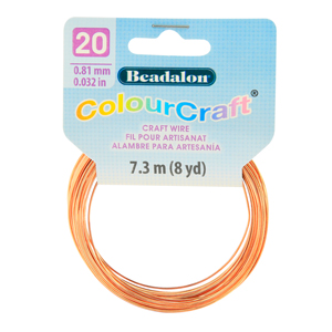 ColourCraft Wire, 20 Gauge (0.032 in, 0.81 mm), Copper, 7.3 m (8 yd) Coil