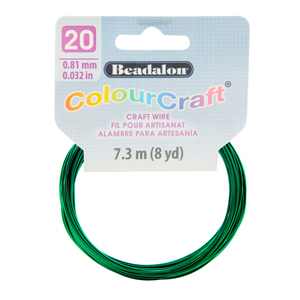 ColourCraft Wire, 20 Gauge (0.032 in, 0.81 mm), Dark Green, 7.3 m (8 yd) Coil