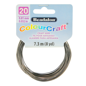 ColourCraft Wire, 20 Gauge (0.032 in, 0.81 mm), Graphite, 7.3 m (8 yd) Coil