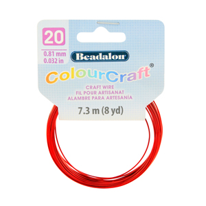 ColourCraft Wire, 20 Gauge (0.032 in, 0.81 mm), Red, 7.3 m (8 yd) Coil