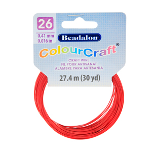 ColourCraft Wire, 26 Gauge (0.017 in, 0.40 mm), Red, 27.4 m (30 yd) Coil