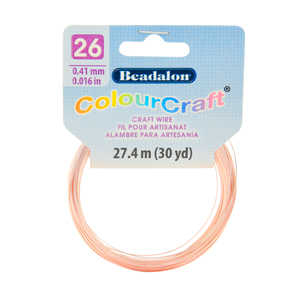 ColourCraft Wire, 26 Gauge (0.017 in, 0.40 mm), Rose Gold Color, 27.4 m (30 yd) Coil