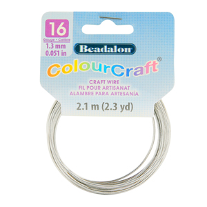 ColourCraft Wire, 16 Gauge (0.051 in, 1.29 mm), Silver Color, 2.1 m (2.3 yd) Coil