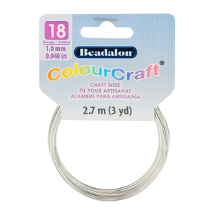 ColourCraft Wire, 18 Gauge (0.040 in, 1.02 mm), Silver Color, 2.7 m (3 yd) Coil