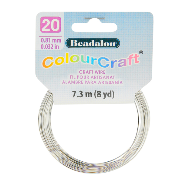ColourCraft Wire, 20 Gauge (0.032 in, 0.81 mm), Silver Color, 7.3 m (8 yd) Coil