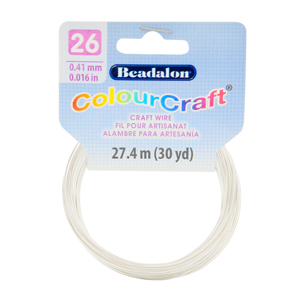 ColourCraft Wire, 26 Gauge (0.017 in, 0.40 mm), Silver Color Matte (Silver Plated), 27.4 m (30 yd) Coil