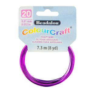 ColourCraft Wire, 20 Gauge (0.032 in, 0.81 mm), Grape (Silver Plated), 7.3 m (8 yd) Coil