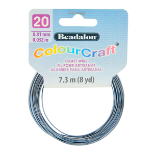 ColourCraft Wire, 20 Gauge (0.032 in, 0.81 mm), Grey (Silver Plated), 7.3 m (8 yd) Coil