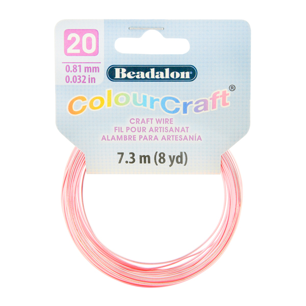 ColourCraft Wire, 20 Gauge (0.032 in, 0.81 mm), Pink (Silver Plated), 7.3 m (8 yd) Coil