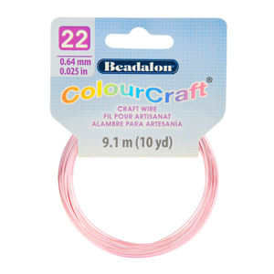 ColourCraft Wire, 22 Gauge (0.025 in, 0.64 mm), Pink (Silver Plated), 9.1 m (10 yd) Coil