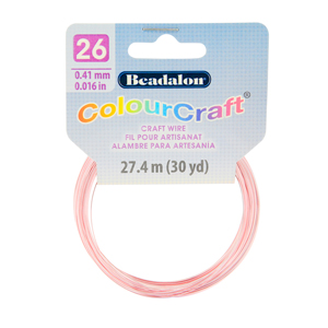 ColourCraft Wire, 26 Gauge (0.017 in, 0.40 mm), Pink (Silver Plated), 27.4 m (30 yd) Coil