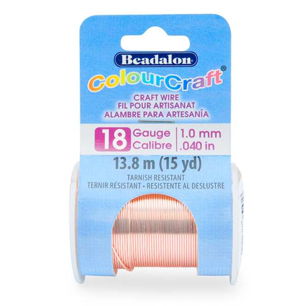 ColourCraft Wire, 18 Gauge (0.040 in, 1.02 mm), Tarnish Resistant Rose Gold Silver Plated, 9.1 m (10 yd) Spool