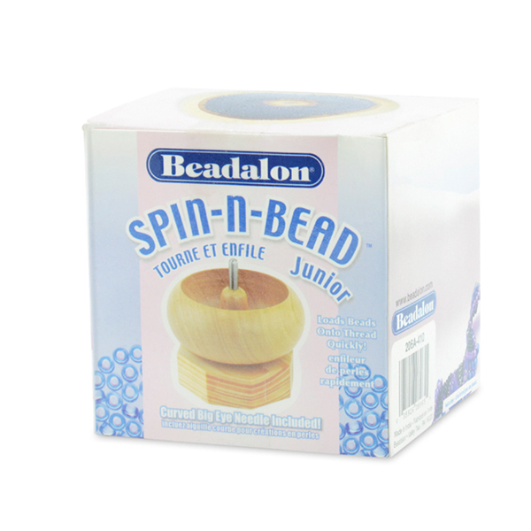 Spin-N-Bead Junior, size 8.89 cm (3.5 in) height x 8.89 cm (3.5 in) width, includes 1 Curved Big Eye Needle
