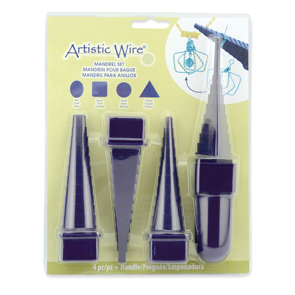 Plastic Step Up Multi size and shape Mandrels with Interchangeable Handle, Round, Oval, Square, Triangle, 4 pc