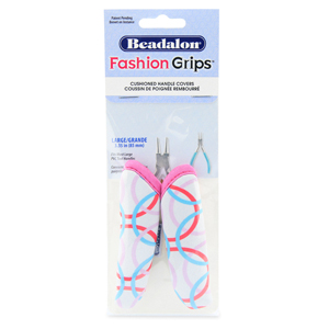Fashion Grips Tool Covers, Geometric Pink/Blue Pattern, Fits Most Large PVC Tool Handles appx. 85 mm (3.35 in) long, 1 pair
