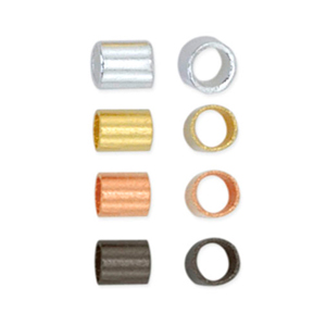 Crimp Tube Variety Pack, Size #2, 1.3 mm (.051 in) I.D., 1.8 mm (.070 in) O.D., Silver Plated, Gold Color, Hematite Color, 600 pc. Use Standard Crimp Tool.