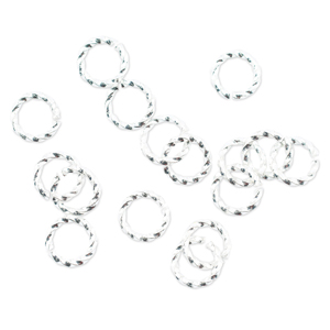 Jump Rings, 8 mm (.315 in), Twist, Silver Plated, 16 pc