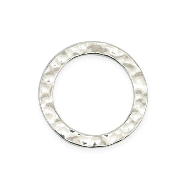 Solid Rings, 24 mm (.944 in), Textured, Silver Plated, 5 pc