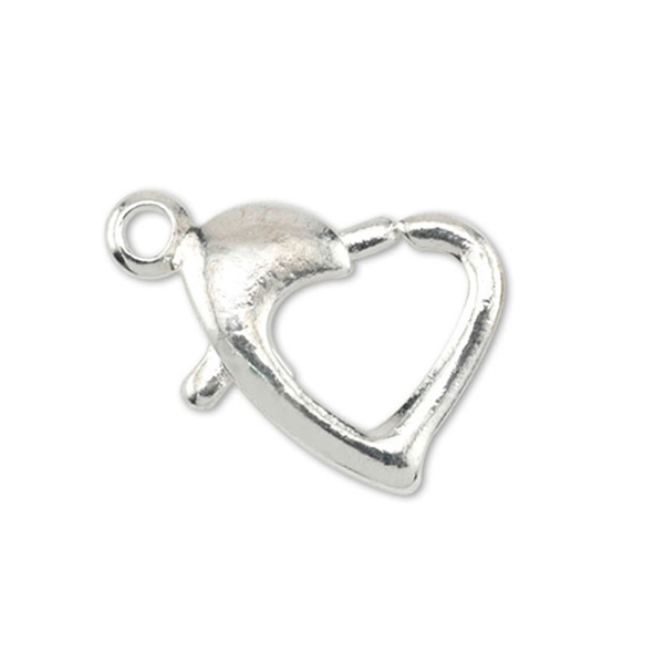 Lobster Clasps, Heart, Silver Plated, 5 pc