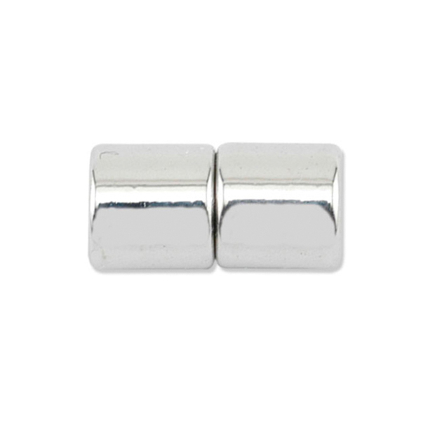 Magna-Tube Clasps, 6 mm (.236 in), Silver Plated, 2 sets