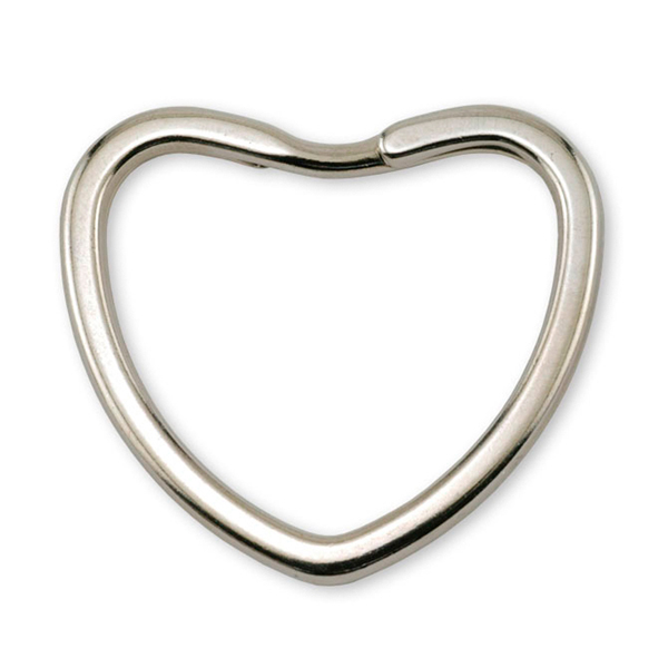 Key Rings, Heart, Imitation Rhodium Plated, 4 pc