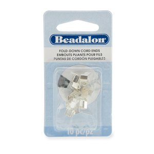 Cord Ends, Fold-Down, 4.8mm (.189 in) O.D., 9.3mm (.366 in) length, Silver Plated E-Coat,10 pc