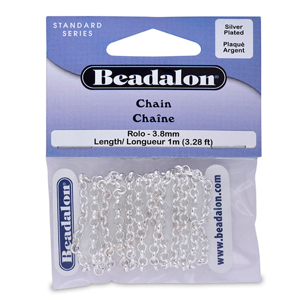 Chain, 3.8 mm (.149 in) Rolo, Silver Plated, 1 m (3.28 ft)