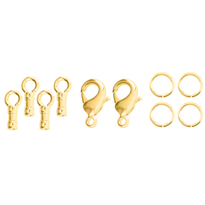 Loop Crimps, with Lobster Clasp and 2 x 6 mm (0.24 in) Jump Rings, 9.5 mm (0.37 in) long, fits cording up to 1.0 mm (0.38 in), Tarnish Resistant, Gold Color E-Coat, 2 sets
