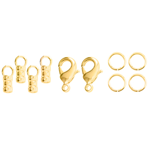 Loop Crimps, with Lobster Clasp and 2 x 6 mm (0.24 in) Jump Rings, 9.5 mm (0.37 in) long, fits cording up to 2.0 mm (0.78 in), Tarnish Resistant, Gold Color E-Coat, 2 sets