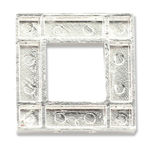 Katiedids, Square, 24.3 mm (.96 in), Silver Plated, 4 pc