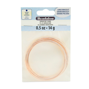 Memory Wire, Round, Large Bracelet, Rose Gold Color, 0.5 oz (14 g), appx 30 coils/pack
