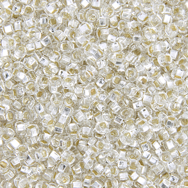 Seed Beads, Czech, Size 6/0, Crystal, Silver Lined, 22 g (.776 oz) Vial
