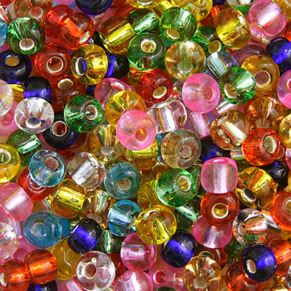 Seed Beads, Czech, Size 6/0, Assorted Colors, Silver Lined, 22 g (.776 oz) Vial