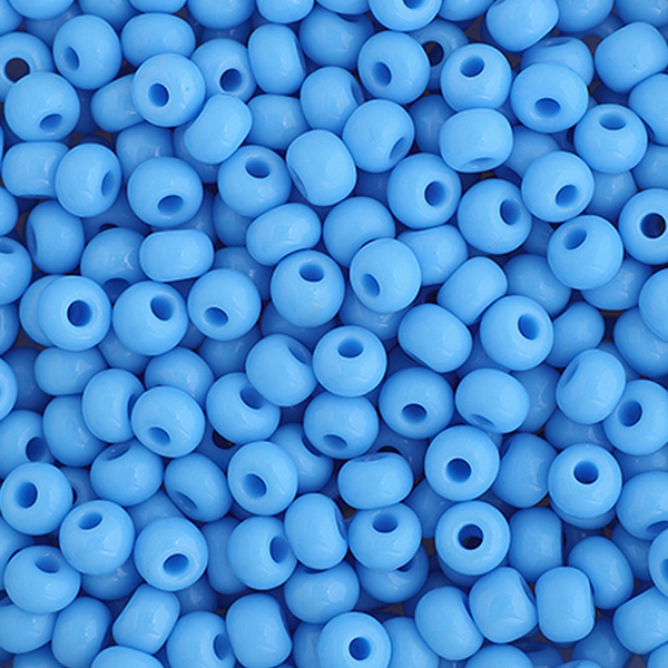 Seed Beads, Czech, Size 6/0, Light Blue, Opaque, 22 g (.776 oz) Vial