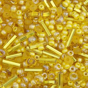 Seed Beads, Czech, Size 10/0 Seed Beads & #3 Bugles, Yellow Mixed Shades & Finishes 22 Grams (.776 oz) Vial