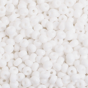 Seed Beads, Czech, Size 6/0, White Opaque, 500 g (17.637 oz) Bag