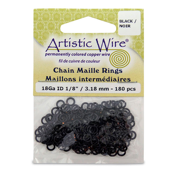 18 Gauge Artistic Wire, Chain Maille Rings, Round, Black, 1/8 in (3.18 mm), 180 pc