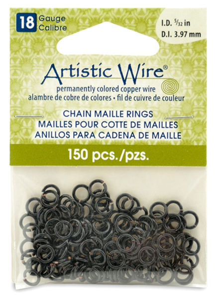 18 Gauge Artistic Wire, Chain Maille Rings, Round, Black, 11/64 in (4.37 mm), 140 pc