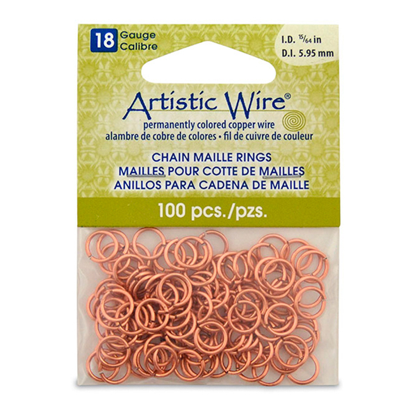 18 Gauge Artistic Wire, Chain Maille Rings, Round, Natural, 15/64 in (5.95 mm), 100 pc