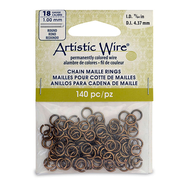 18 Gauge Artistic Wire, Chain Maille Rings, Round, Antique Brass Color, 11/64 in (4.37 mm),140 pc
