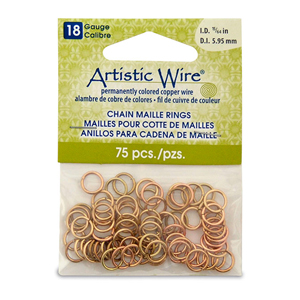 18 Gauge Artistic Wire, Chain Maille Rings, Round, Tarnish Resistant Brass, 15/64 in (5.95 mm), 75 pc