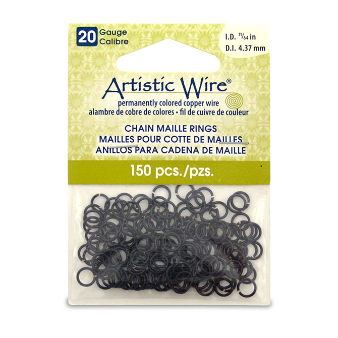 Beadalon 20 gauge artistic wire chain maille rings round black 1164 in 437 mm 150 pc keyboard keysfo Images