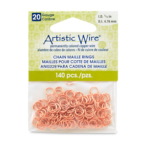 20 Gauge Artistic Wire, Chain Maille Rings, Round, Natural, 3/16 in (4.76 mm), 140 pc