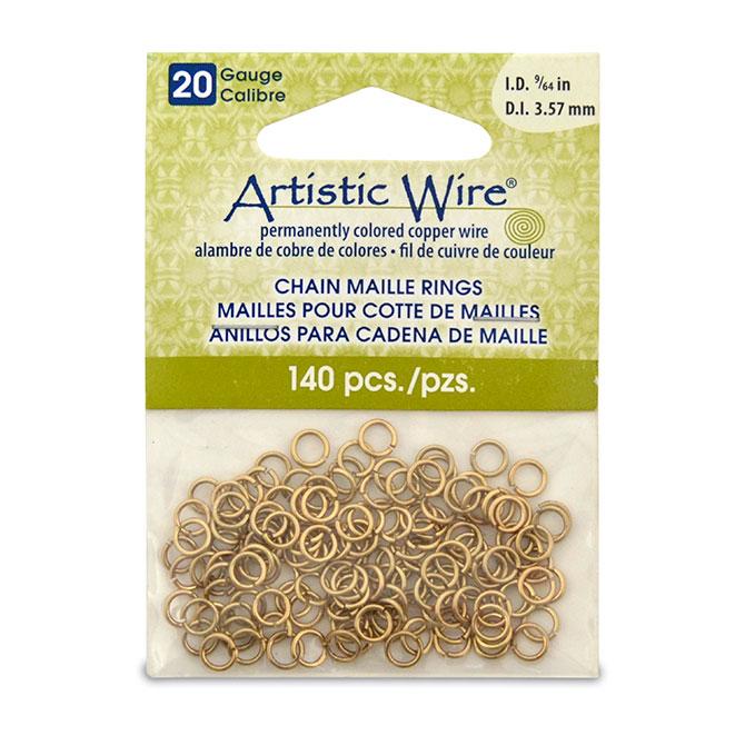 Artistic wire 20 gauge chain maille rings 20 gauge artistic wire chain maille rings round tarnish resistant brass 964 in 357 mm 140 pc keyboard keysfo Images