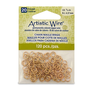 20 Gauge Artistic Wire, Chain Maille Rings, Round, Tarnish Resistant Brass, 11/64 in (4.37 mm), 120 pc