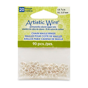 20 Gauge Artistic Wire, Chain Maille Rings, Round, Tarnish Resistant Silver, 9/64 in (3.57 mm), 90 pc